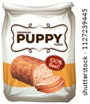 bag of premium puppy food... | Shutterstock .eps vector #1127239445
