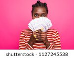 portrait of excited woman with... | Shutterstock . vector #1127245538