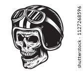 vintage monochrome skull rider... | Shutterstock .eps vector #1127268596