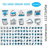 100 hand drawn icons. business | Shutterstock .eps vector #112726906