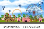a panorama view of theme park... | Shutterstock .eps vector #1127273135
