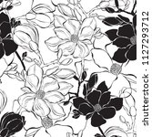 seamless pattern with magnolia... | Shutterstock .eps vector #1127293712