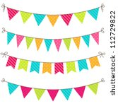 vector set of colorful and... | Shutterstock .eps vector #112729822