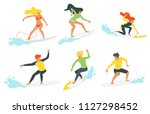 Vector flat style set of man and woman surfers silhouettes with wave.  Minimalism design. Isolated on white background.