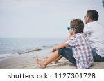 portrait of young sad little... | Shutterstock . vector #1127301728