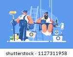 brigade of painters with... | Shutterstock .eps vector #1127311958