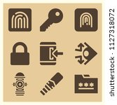 set of 9 security filled icons... | Shutterstock .eps vector #1127318072