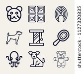set of 9 animals outline icons... | Shutterstock .eps vector #1127320835