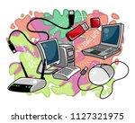 vector illustration of computer ... | Shutterstock .eps vector #1127321975
