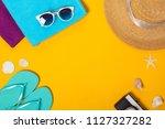 summer composition of beach...   Shutterstock . vector #1127327282