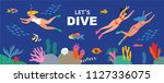 diving card collection. cute... | Shutterstock .eps vector #1127336075