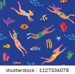 diving seamless pattern. cute...   Shutterstock .eps vector #1127336078