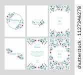 set of cards with floral design ... | Shutterstock .eps vector #1127346278