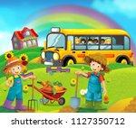 cartoon scene with children on... | Shutterstock . vector #1127350712