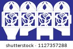 openwork box with lace ornament.... | Shutterstock .eps vector #1127357288