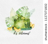 watercolor green cake with... | Shutterstock . vector #1127371832