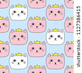 seamless pattern with cute cats.... | Shutterstock .eps vector #1127386415