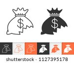money lost black linear and... | Shutterstock .eps vector #1127395178