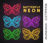 butterfly set icon neon music... | Shutterstock .eps vector #1127395436