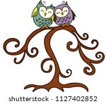 couple of owl in tree  | Shutterstock .eps vector #1127402852