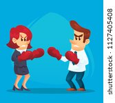 businesswoman in boxing gloves... | Shutterstock .eps vector #1127405408