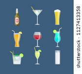 alcohol drinks and cocktails...   Shutterstock .eps vector #1127413358
