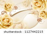 Stock photo  d beige background with large buds of roses 1127442215