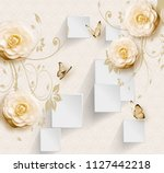 Stock photo  d illustration light background white rectangles and beige flowers 1127442218
