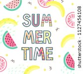 summer time typographical... | Shutterstock .eps vector #1127456108