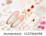 flat lay of female fashion... | Shutterstock . vector #1127466458