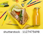 kids lunch box with sandwich ... | Shutterstock . vector #1127475698