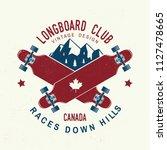 longboard club badge. vector... | Shutterstock .eps vector #1127478665