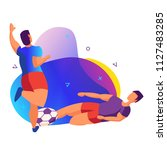 players during the game.... | Shutterstock .eps vector #1127483285
