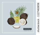 coconut essential oil. bottle...   Shutterstock .eps vector #1127483858