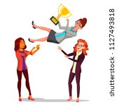 winner business woman. throwing ... | Shutterstock . vector #1127493818