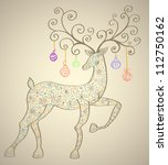 Christmas deer with decorations, beautiful  illustration - stock photo