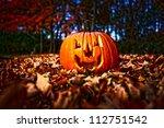 halloween pumpkin on leaves in... | Shutterstock . vector #112751542