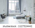 spacious stylish white loft...   Shutterstock . vector #1127524442