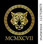 tiger head with gold foil. | Shutterstock .eps vector #1127528075