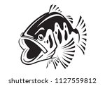 graphic bass fish   vector | Shutterstock .eps vector #1127559812