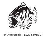 graphic bass fish   vector | Shutterstock .eps vector #1127559812