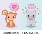 kawaii animals and love design | Shutterstock .eps vector #1127566748