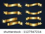 ribbon banner set. golden... | Shutterstock .eps vector #1127567216