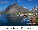 scenic town of reine on lofoten ... | Shutterstock . vector #112756945