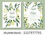 wedding invitation frames with... | Shutterstock .eps vector #1127577752
