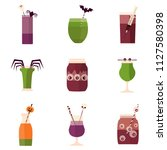 spooky halloween party cocktail ...   Shutterstock .eps vector #1127580398