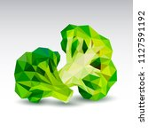 polygonal broccoli. low poly.... | Shutterstock .eps vector #1127591192