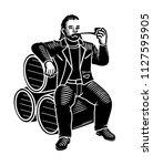 dwarf in a leather jacket... | Shutterstock .eps vector #1127595905