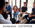 unhappy female pupil in high...   Shutterstock . vector #1127599328