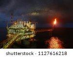 offshore construction platform... | Shutterstock . vector #1127616218